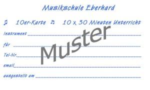Die 10er Karte der Musikschule Eberhard